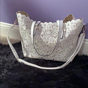 ALDO white flower pattern shoulder bag
